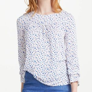 Boden White Floral Flare Cuff Long Sleeve Top